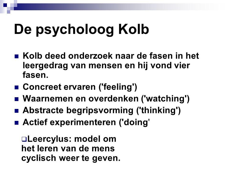 De psycholoog Kolb Kolb deed onderzoek naar de fasen in het leergedrag van mensen en hij vond vier fasen.