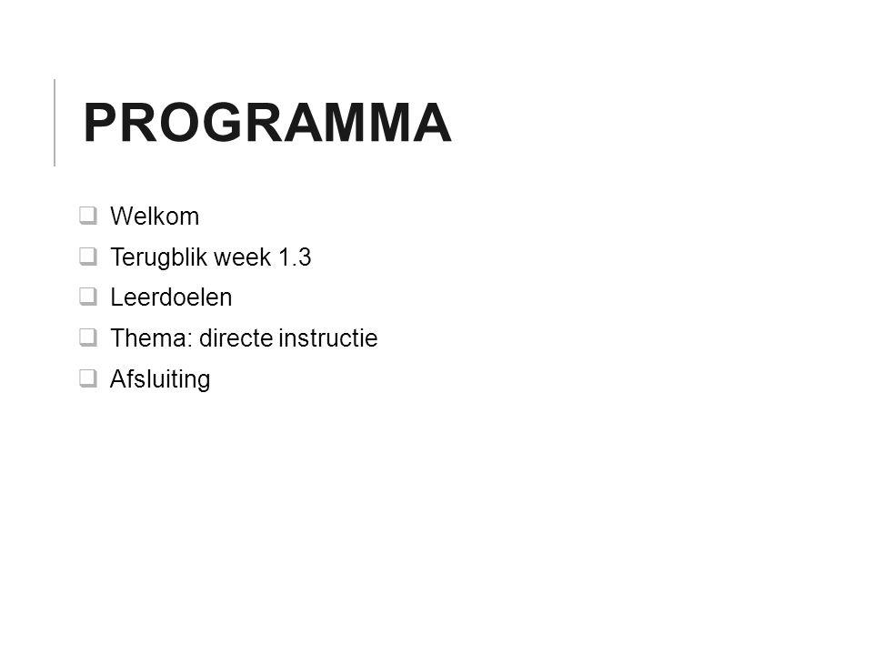 Programma Welkom Terugblik week 1.3 Leerdoelen