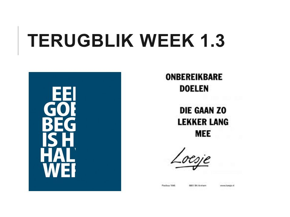 Terugblik week 1.3