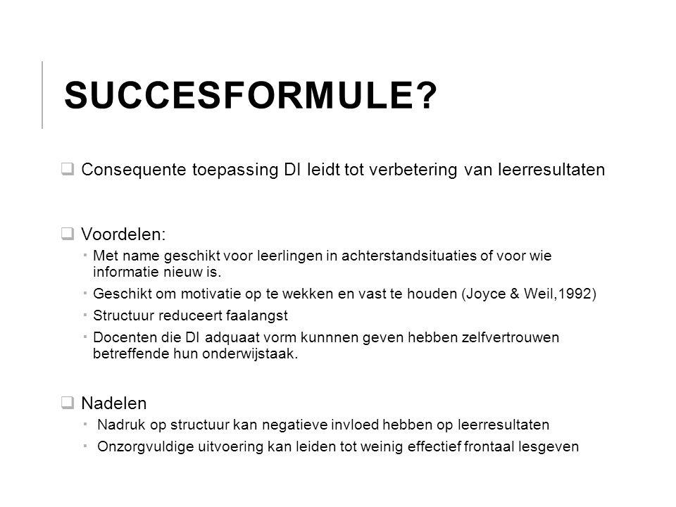 Succesformule Consequente toepassing DI leidt tot verbetering van leerresultaten. Voordelen: