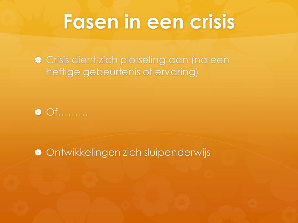 Fasen in een crisis Crisis dient zich plotseling aan (na een heftige gebeurtenis of ervaring) Of………