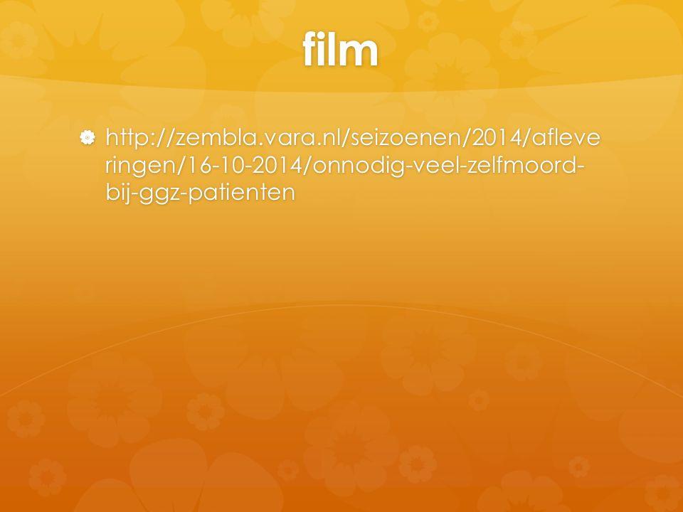 film http://zembla.vara.nl/seizoenen/2014/afleve ringen/16-10-2014/onnodig-veel-zelfmoord- bij-ggz-patienten.