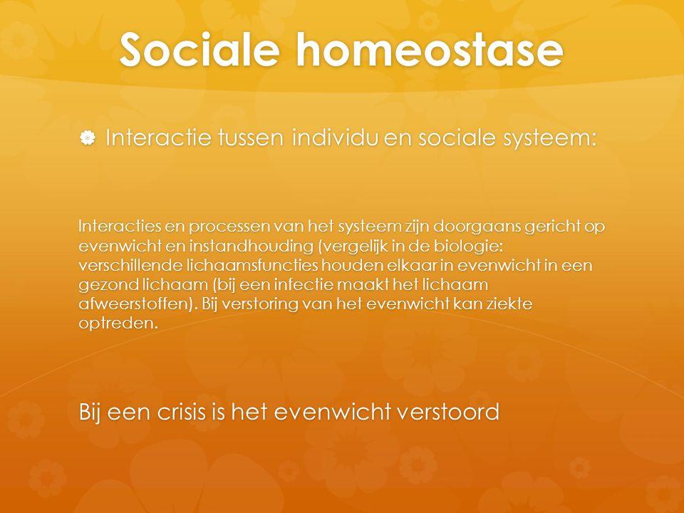 Sociale homeostase Interactie tussen individu en sociale systeem:
