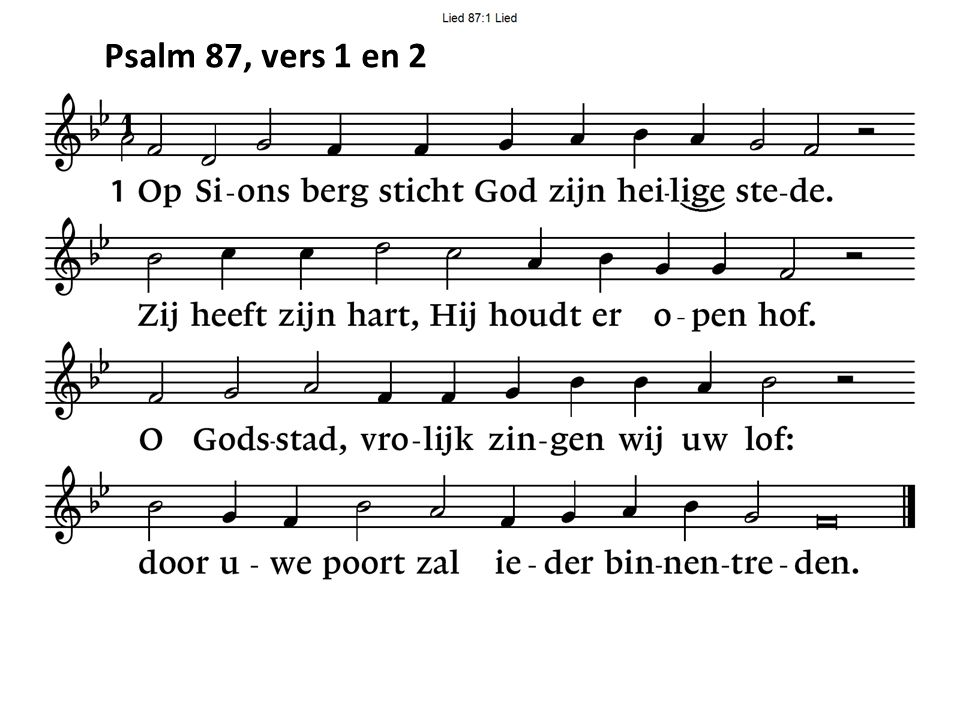 Psalm 87, vers 1 en 2