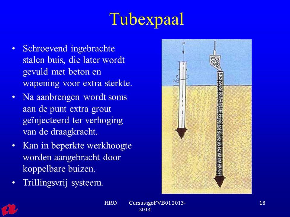 Tubexpaal Schroevend ingebrachte stalen buis, die later wordt gevuld met beton en wapening voor extra sterkte.