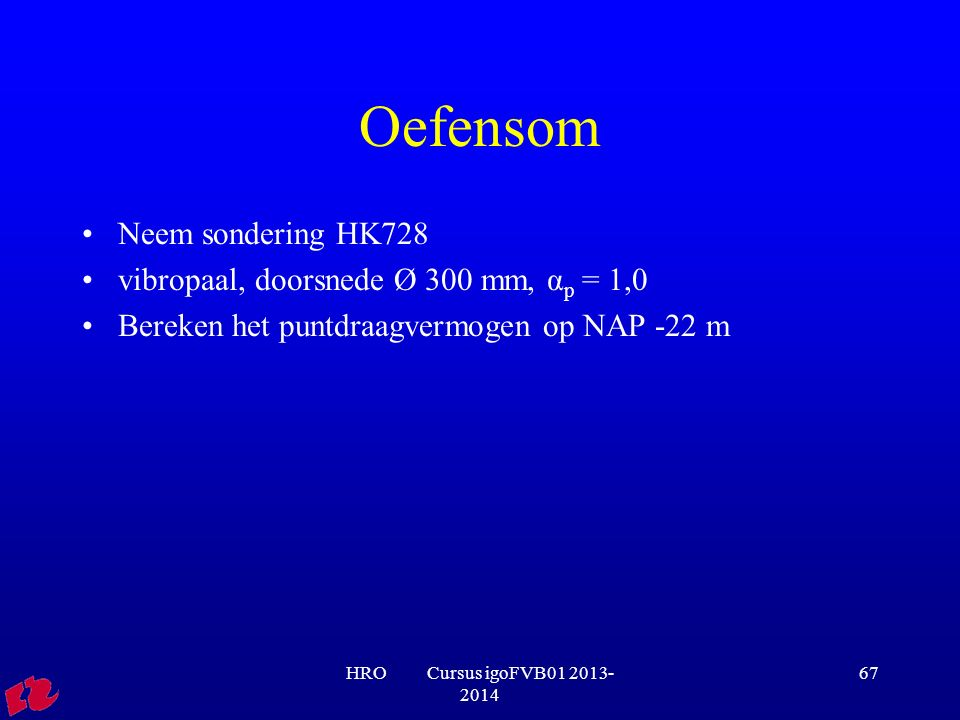 Oefensom Neem sondering HK728 vibropaal, doorsnede Ø 300 mm, αp = 1,0