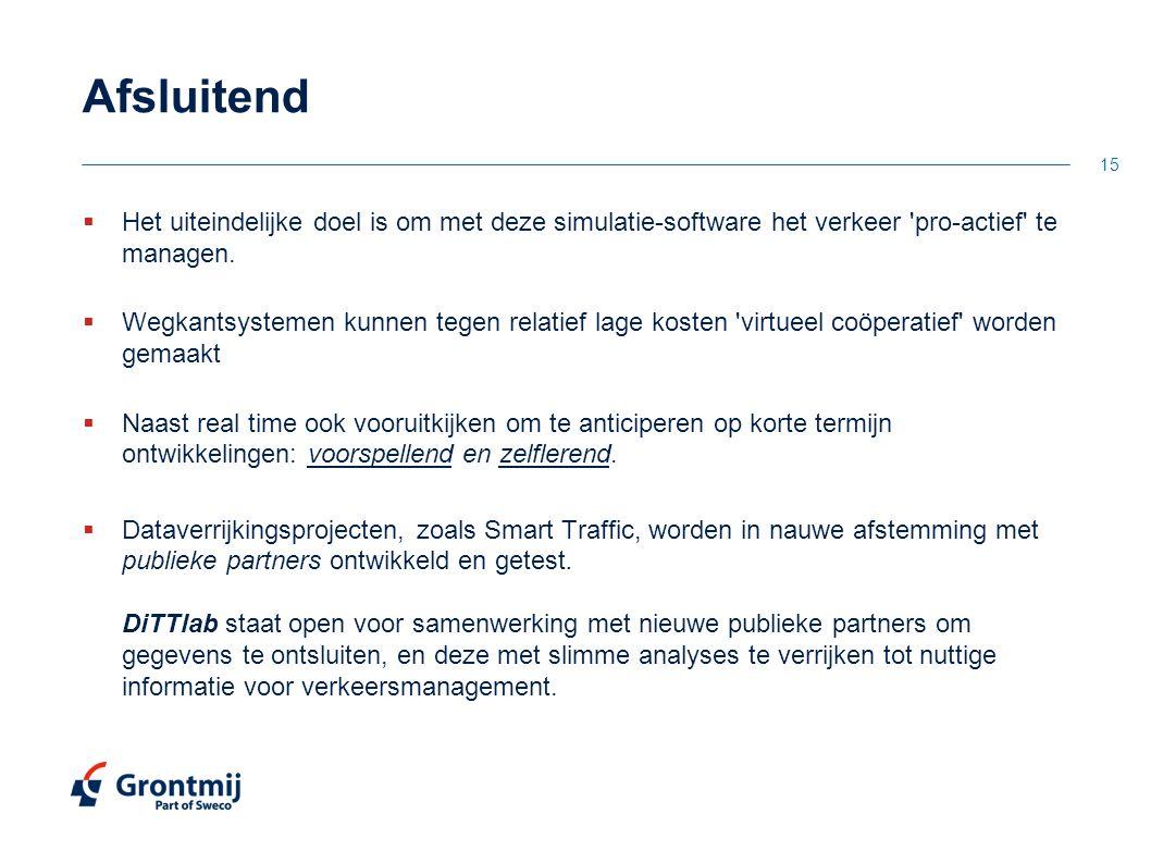 Afsluitend Het uiteindelijke doel is om met deze simulatie-software het verkeer pro-actief te managen.