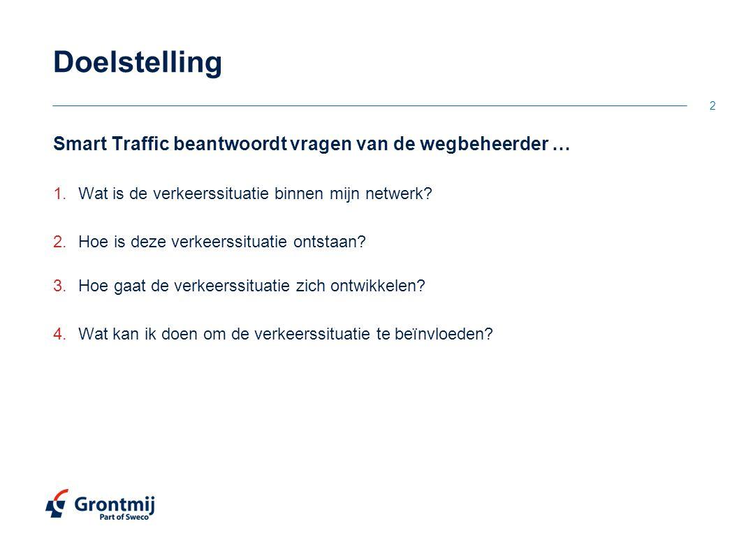 Doelstelling Smart Traffic beantwoordt vragen van de wegbeheerder …