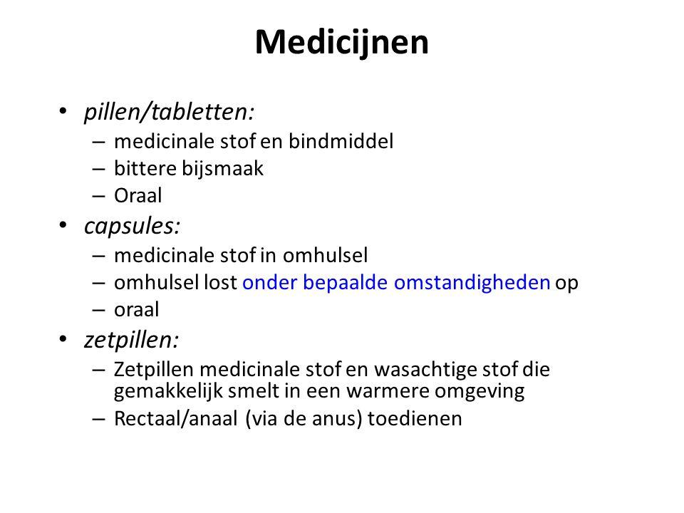 Medicijnen pillen/tabletten: capsules: zetpillen: