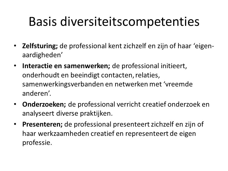 Basis diversiteitscompetenties