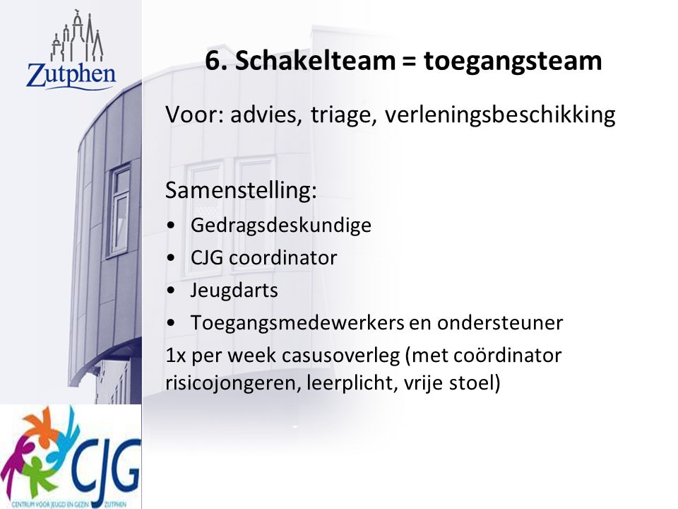 6. Schakelteam = toegangsteam