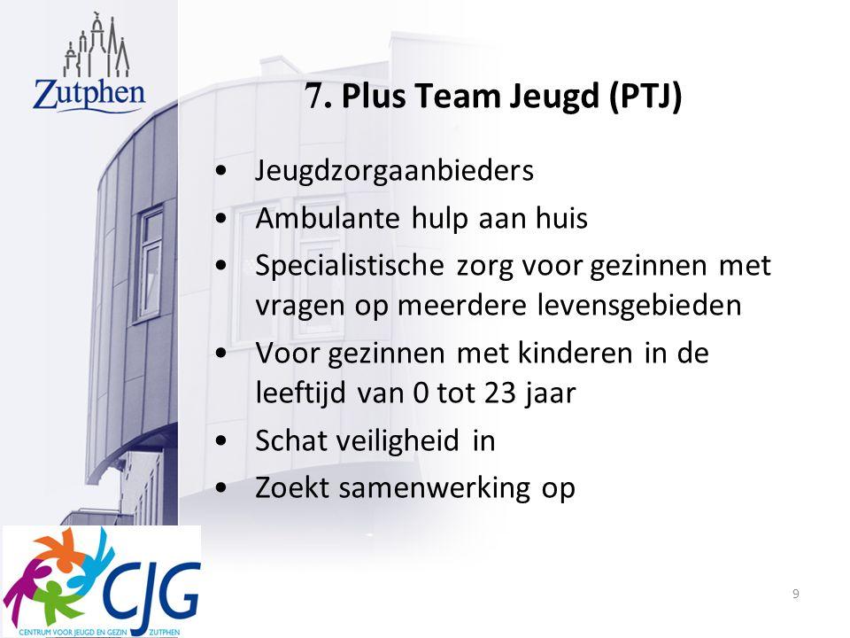 7. Plus Team Jeugd (PTJ) Jeugdzorgaanbieders Ambulante hulp aan huis