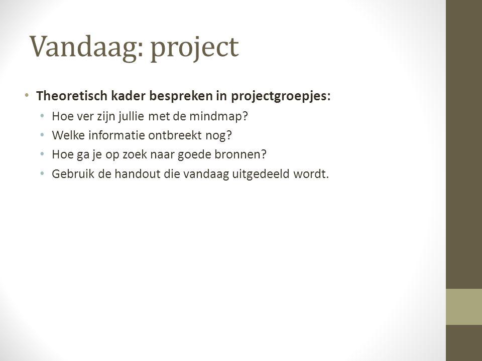 Vandaag: project Theoretisch kader bespreken in projectgroepjes:
