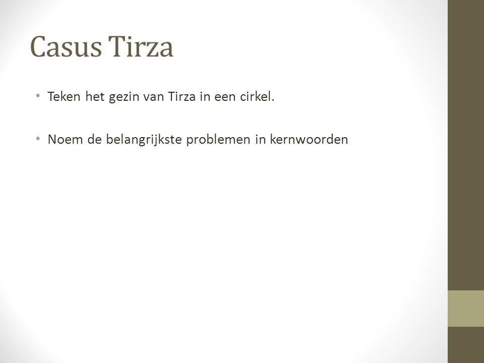 Casus Tirza Teken het gezin van Tirza in een cirkel.
