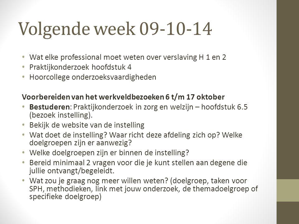 Volgende week 09-10-14 Wat elke professional moet weten over verslaving H 1 en 2. Praktijkonderzoek hoofdstuk 4.