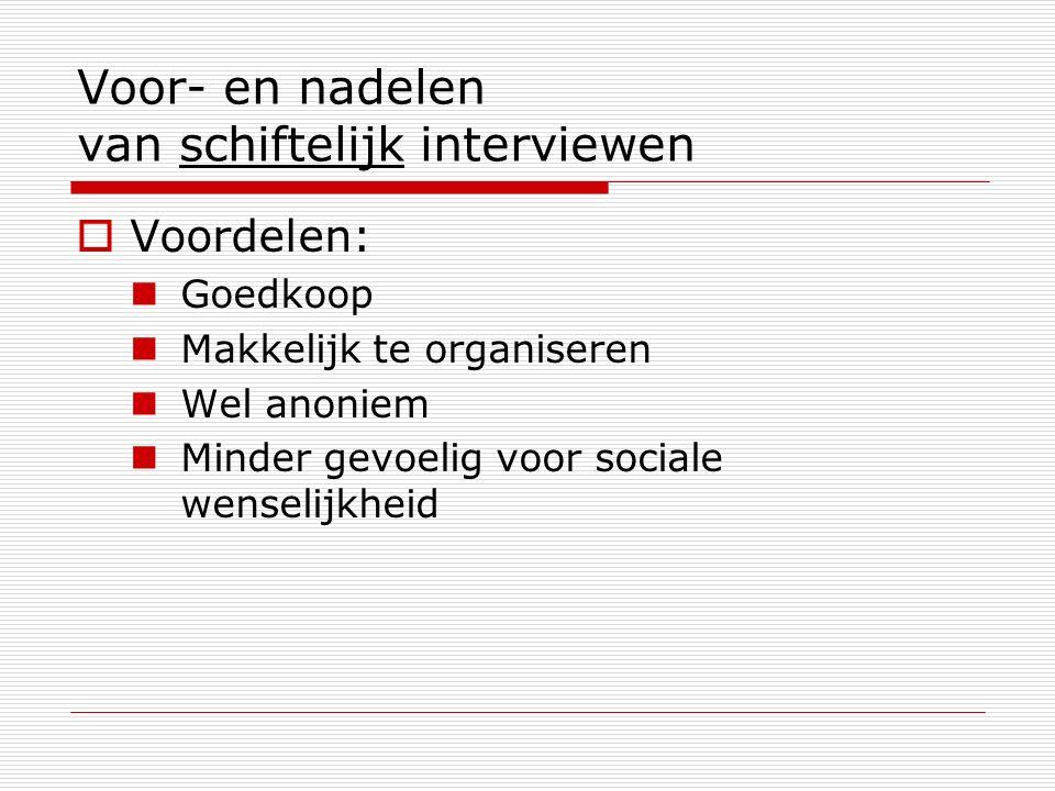 Voor- en nadelen van schiftelijk interviewen