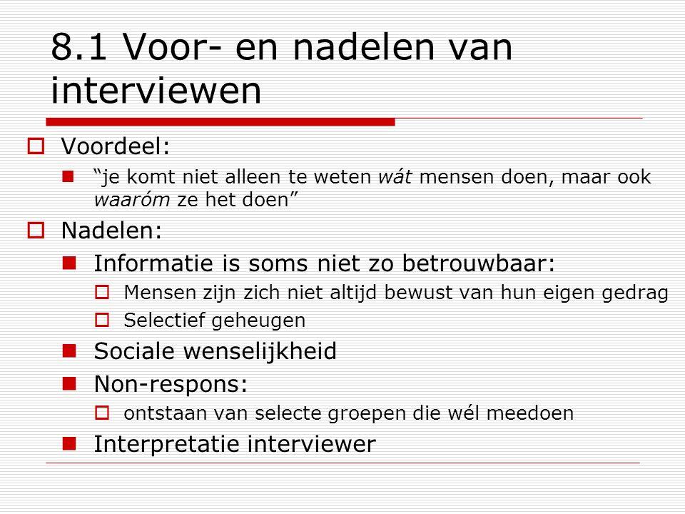 8.1 Voor- en nadelen van interviewen