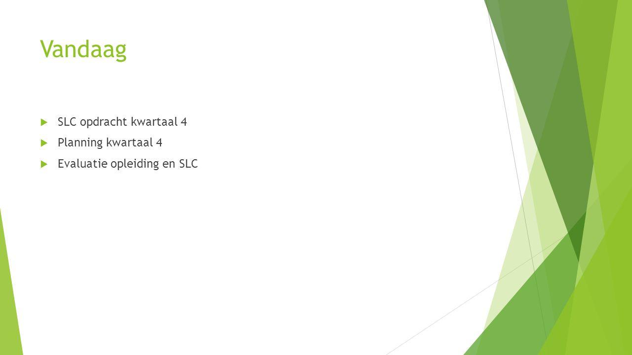 Vandaag SLC opdracht kwartaal 4 Planning kwartaal 4
