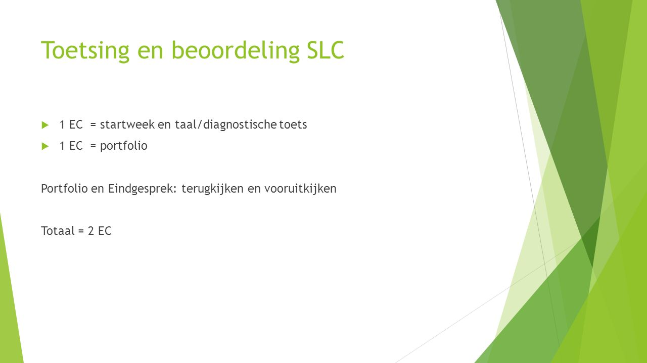 Toetsing en beoordeling SLC