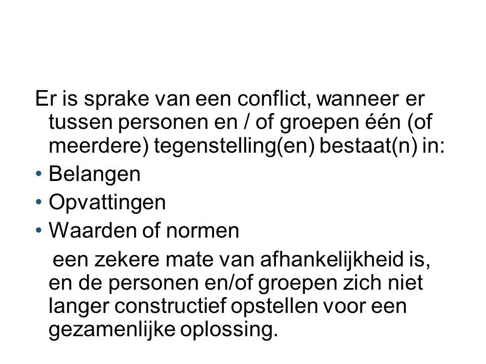Er is sprake van een conflict, wanneer er tussen personen en / of groepen één (of meerdere) tegenstelling(en) bestaat(n) in: