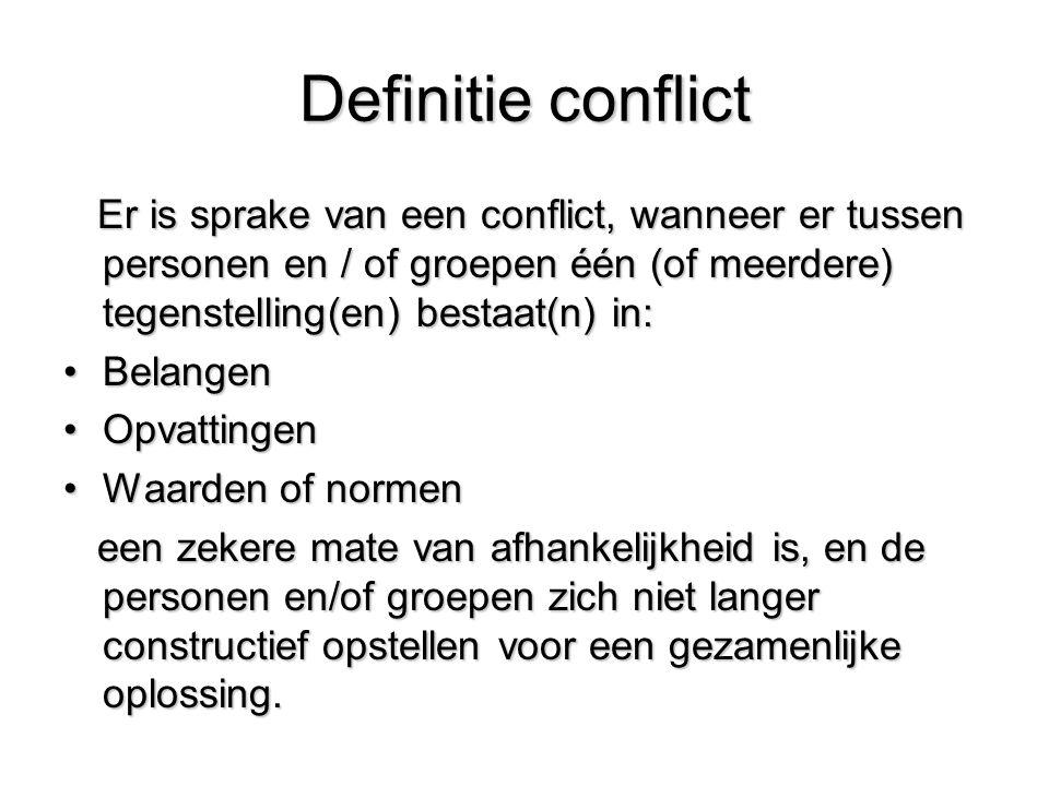 Definitie conflict Er is sprake van een conflict, wanneer er tussen personen en / of groepen één (of meerdere) tegenstelling(en) bestaat(n) in: