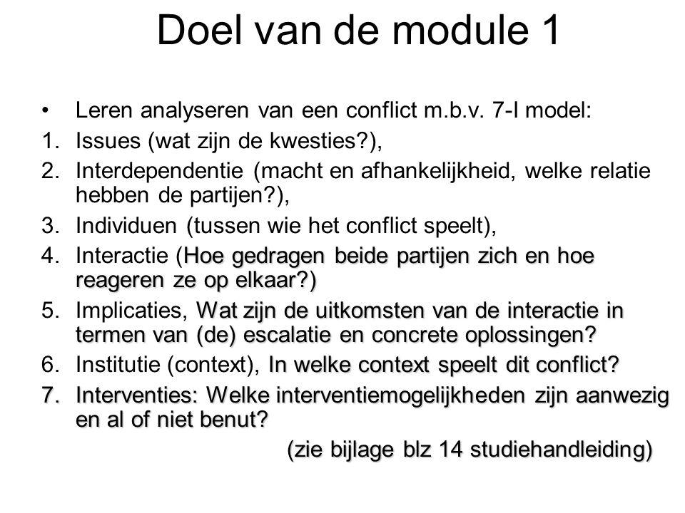 Doel van de module 1 Leren analyseren van een conflict m.b.v. 7-I model: Issues (wat zijn de kwesties ),