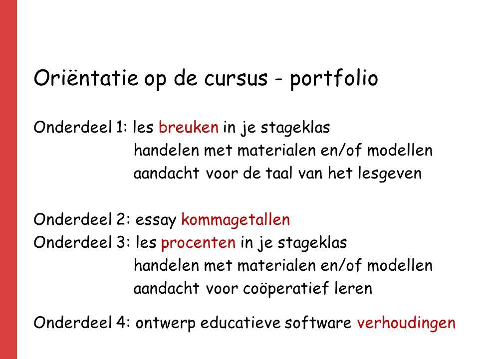 Oriëntatie op de cursus - portfolio