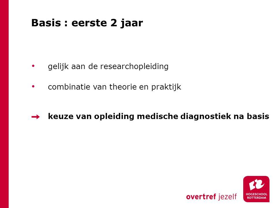 Basis : eerste 2 jaar gelijk aan de researchopleiding
