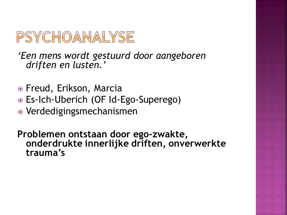 Psychoanalyse 'Een mens wordt gestuurd door aangeboren driften en lusten.' Freud, Erikson, Marcia.