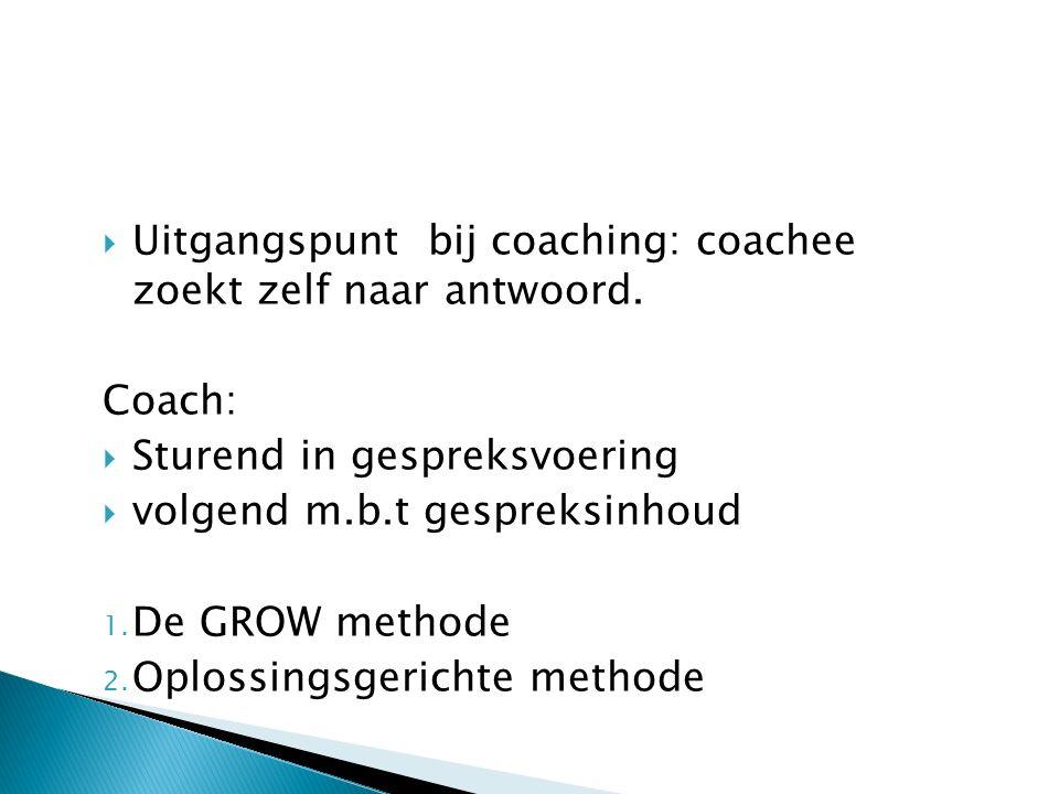 Uitgangspunt bij coaching: coachee zoekt zelf naar antwoord.