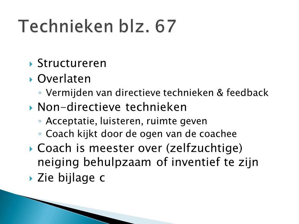 Technieken blz. 67 Structureren Overlaten Non-directieve technieken