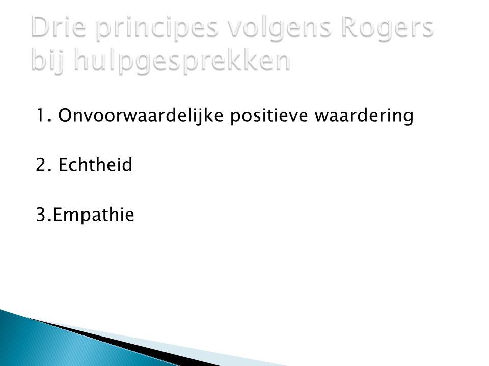 Drie principes volgens Rogers bij hulpgesprekken