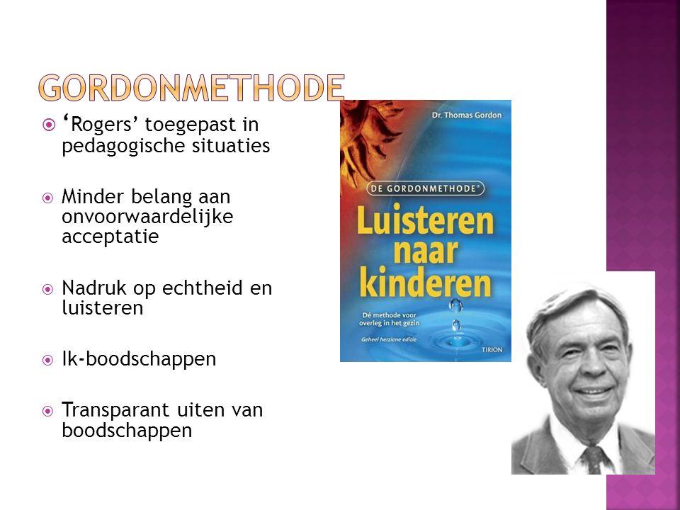 Gordonmethode 'Rogers' toegepast in pedagogische situaties
