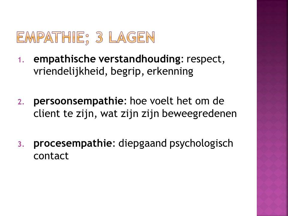 empathie; 3 lagen empathische verstandhouding: respect, vriendelijkheid, begrip, erkenning.