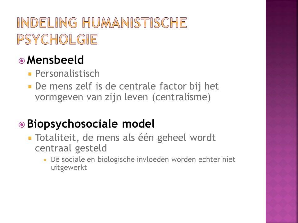 Indeling humanistische psycholgie