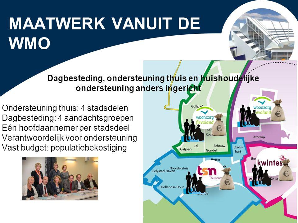 MAATWERK VANUIT DE WMO Dagbesteding, ondersteuning thuis en huishoudelijke ondersteuning anders ingericht.