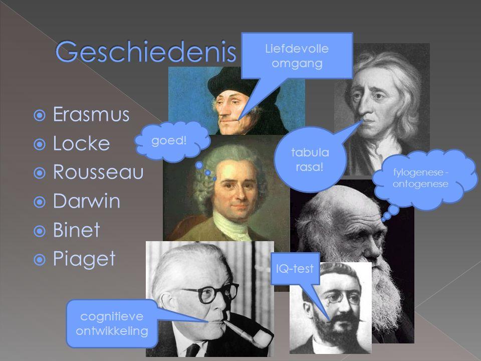 Geschiedenis Erasmus Locke Rousseau Darwin Binet Piaget