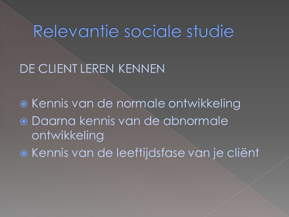 Relevantie sociale studie