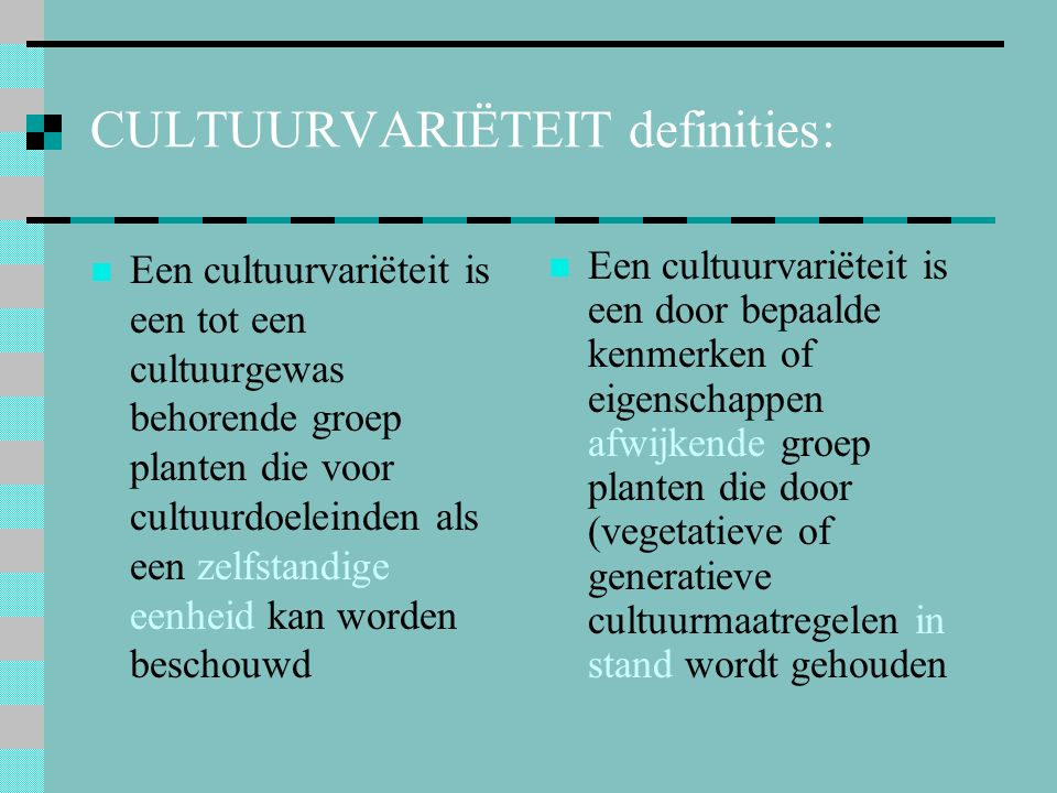 CULTUURVARIËTEIT definities: