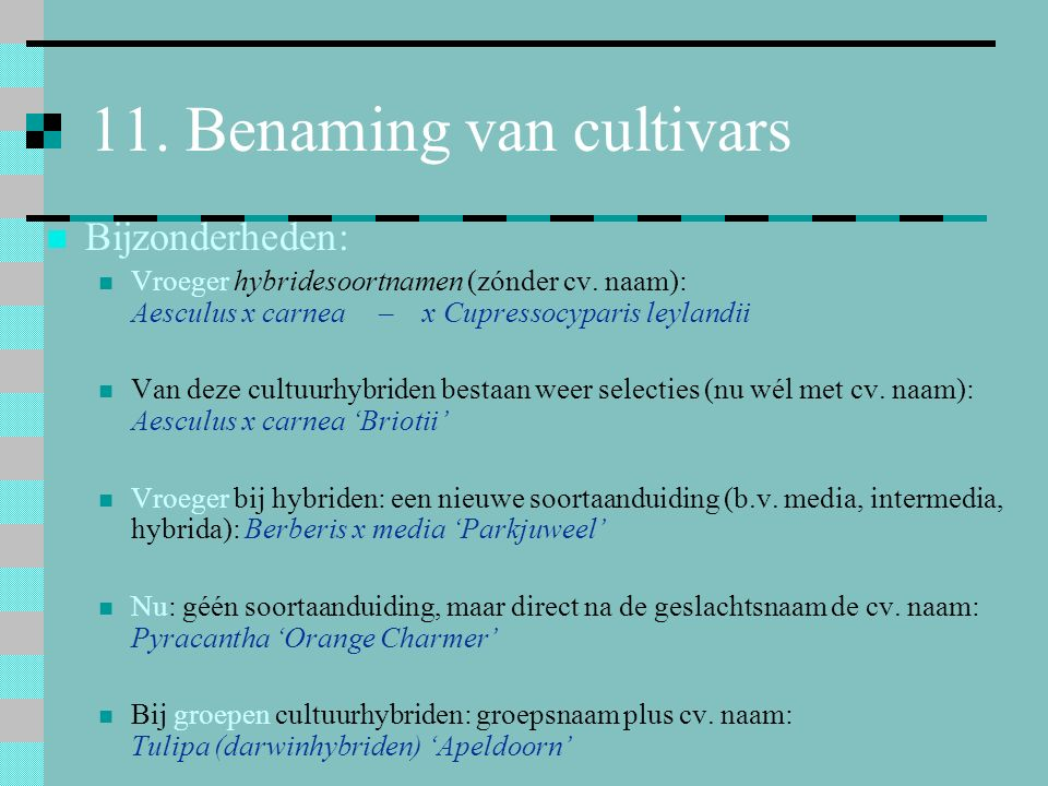 11. Benaming van cultivars