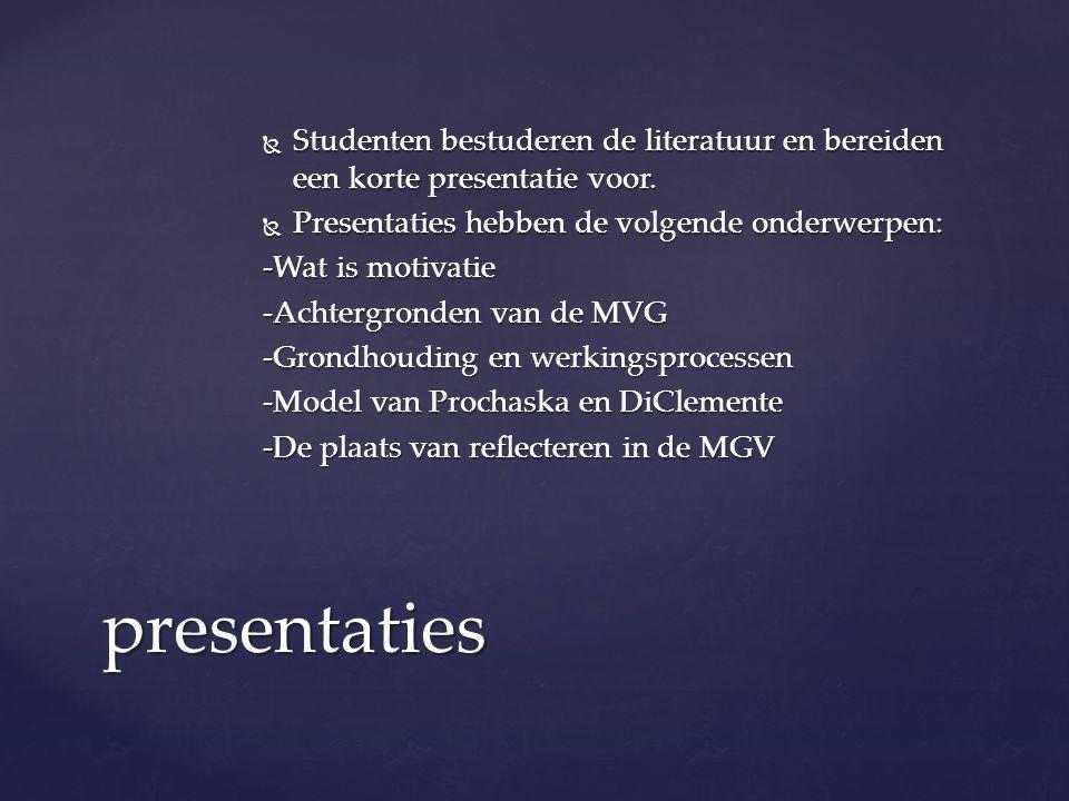 Studenten bestuderen de literatuur en bereiden een korte presentatie voor.