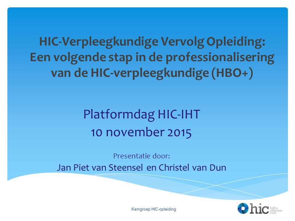 Platformdag HIC-IHT 10 november 2015