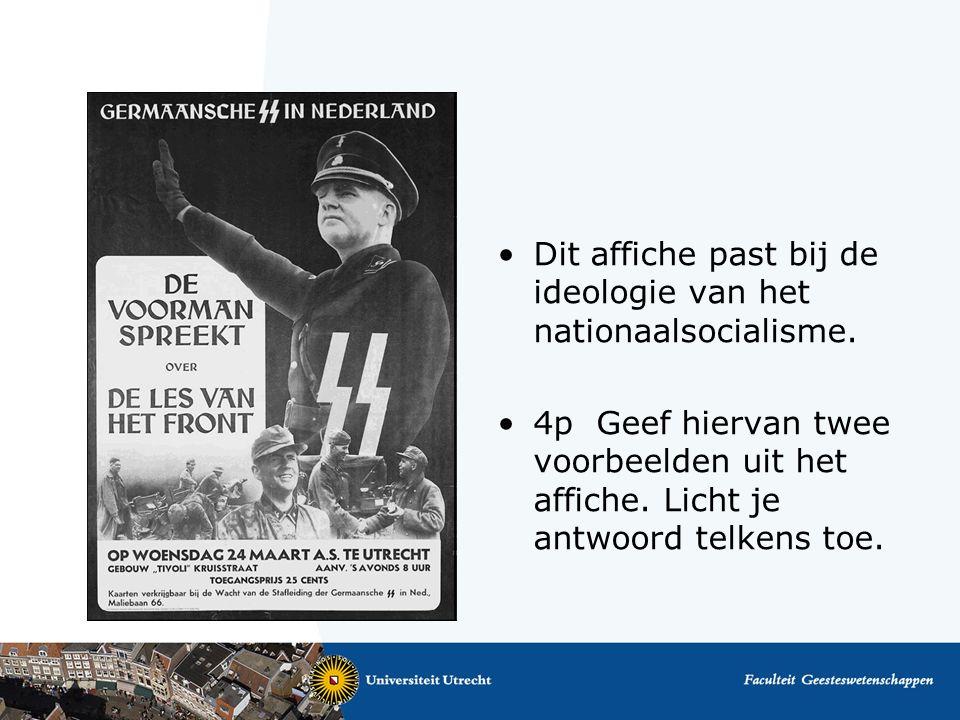 Dit affiche past bij de ideologie van het nationaalsocialisme.