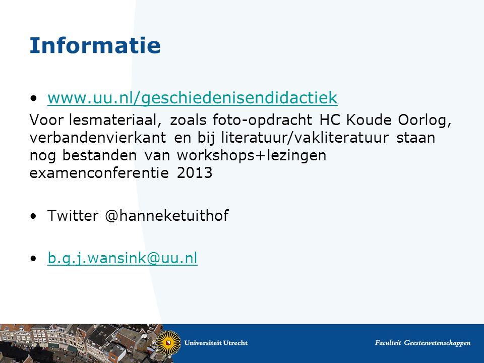 Informatie www.uu.nl/geschiedenisendidactiek