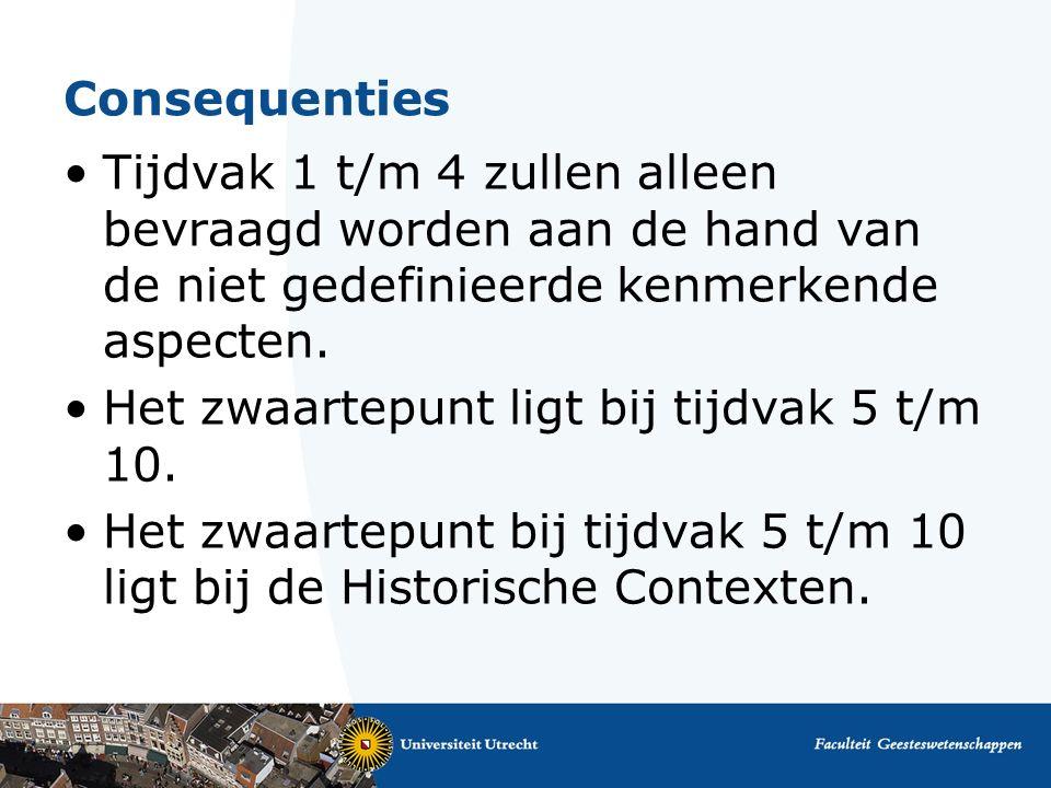 Consequenties Tijdvak 1 t/m 4 zullen alleen bevraagd worden aan de hand van de niet gedefinieerde kenmerkende aspecten.