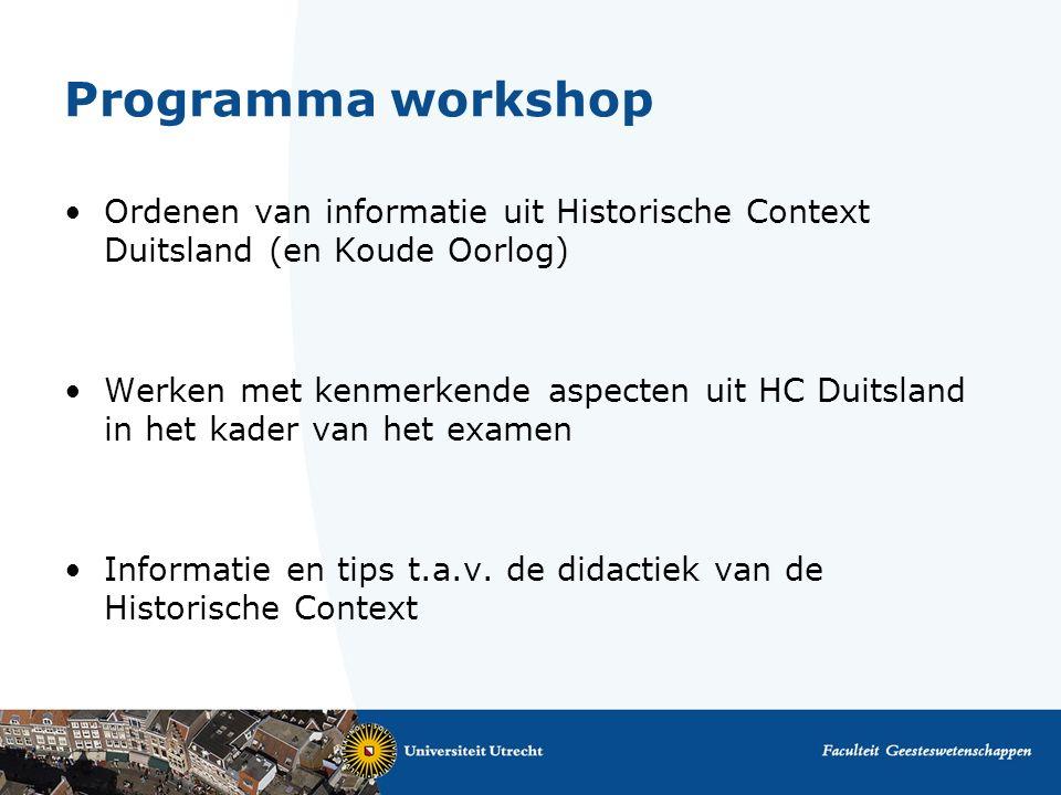 Programma workshop Ordenen van informatie uit Historische Context Duitsland (en Koude Oorlog)