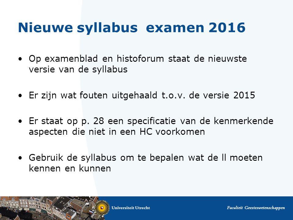 Nieuwe syllabus examen 2016