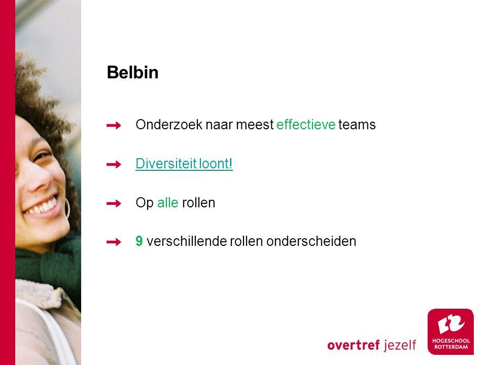 Belbin Onderzoek naar meest effectieve teams Diversiteit loont!