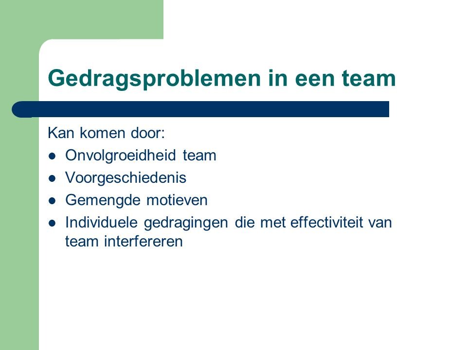 Gedragsproblemen in een team