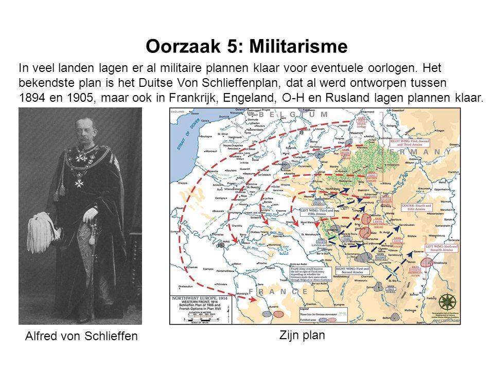 Oorzaak 5: Militarisme In veel landen lagen er al militaire plannen klaar voor eventuele oorlogen. Het.